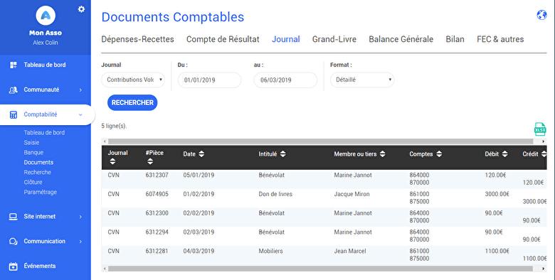 journal comptable association assoconnect logiciel